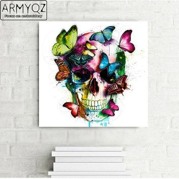 ARMYQZ 5D Diamond Painting Cross Stitch Handcraft Diy Diamond Mosaic Kit Color Skull Butterfly Beaded Embroidery Crafts Arts