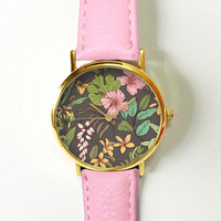 Pink Hibiscus Tropical Floral Watch , Vintage Style Leather Watch, Women Watches, Unisex Watch, Boyfriend Watch, Men's Watch, Palm Leaves ,