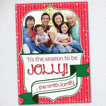 Holiday Photo Card / Tis The Season Christmas Photo Card / Print at Home