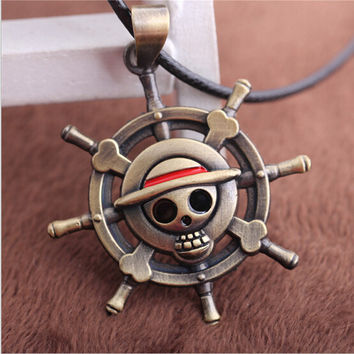 New Cool ONE PIECE LUFFY Straw Hat Skull necklace Anime One pieces Figure pendant necklace