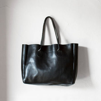Black Leather Shopper / Leather Tote / Shoulder Bag / Black Leather Bag / Leather Bag / Leather Handbag / Raw Edged Shopper / Black Tote