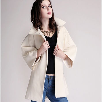 Winter women's cashmere coat in the long Cape FOX FUR WOOL COAT thick lace = 1956223492