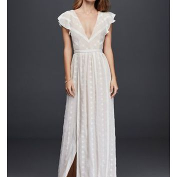 Embroidered Chiffon Dress with Plunging Neckline - Davids Bridal