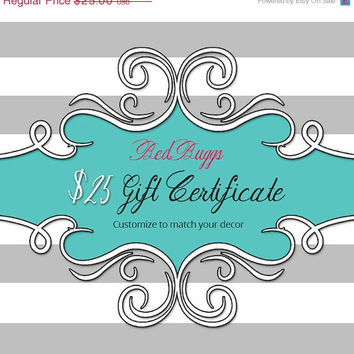 MOTHERS DAY SALE Mothers Day - BedBuggs 25 Dollar Gift Certificate Printable Gift Card Instant Download Choose Your Own Colors and Styles