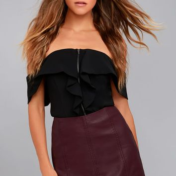 Free People Modern Femme Plum Purple Vegan Leather Mini Skirt