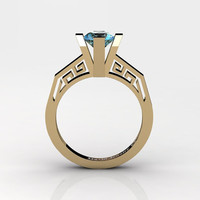 Modern Classic 14K Yellow Gold 1.0 Carat Blue Topaz Bridal Solitaire Wedding Ring Engagement Ring R1024-14KYGBT