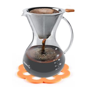 Hand Crafted Glass with Handle Pour over Coffee Maker with Stainless Steel Reusable Filter, 800ml/5-Cup