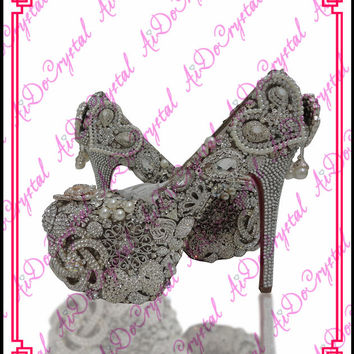 Peacock Pattern Luxurious Crystal Rhinestone Wedding Shoes