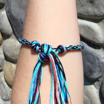 Turquoise and black diamond pattern friendship kumihimo bracelet with or without purchased magnetic closure-- your choice