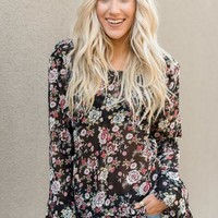 Floral + Ruffles Keyhole Top