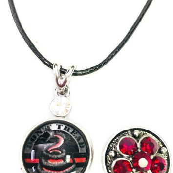 "Dont Tread On Me Firefighter Thin Red Line Snap on 18"" Leather Rope Diamond Pendant Necklace W/ Extra 18MM - 20MM Snap Charm"