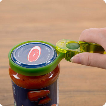 Practical 2016 New Multi-function Kitchen Gadget Plastic Bottle Can Wine Jars Lid Opener Tin Tools Random Color