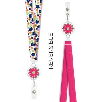 Lanyard Retractable Reversible Groove Floral Think Medical 94609