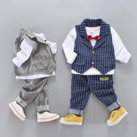 3PC Baby Boys Clothes Outfit Toddler Kids Gentleman Outfits Sets Vest+T-shirt+Pants