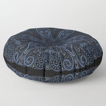 Blue Pattern Ornate with 3D effect Floor Pillow by IvaW