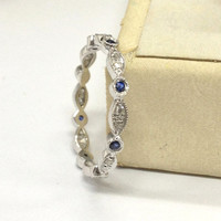IN STOCK!Sapphire Diamond Wedding Band 14K White Gold,Art Deco Antique Matching Ring,Milgrain Full Eternity Band,Fashion Fine Ring,Stackable