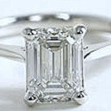 2.00ct F-VVS1 Emerald cut Diamond Engagement Ring Platinum GIA certified JEWELFORME BLUE Anniversary Birthday Gift
