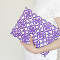 Clutch purple lace - white, lavander, orchid, vintage upcycled, purse, hand painted accessory OOAK