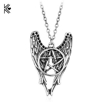 Supernatural Castiel Wings Five-Pointed Star Amulet Charm Necklaces Pendants Dropshipping Vintage Chain Multilayer Necklace Gift