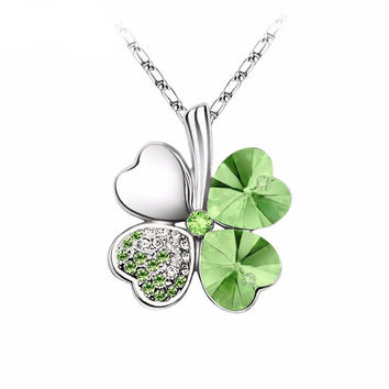 Beautiful Gift Rhodium Plated Green Crystal Flower Necklace