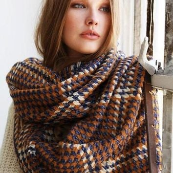 The Embers Houndstooth Blanket Scarf