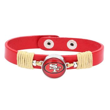 10pcs/lot! Adjustable Premium Leather Ginger Snaps Bracelet with a San Francisco 49ers 18mm Snap  for Men,Women and Teens