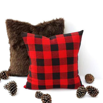 16x16 Plaid Pillow w/Faux Black Suede, Black and Red Buffalo Plaid, Country Chic, Winter Decor, Fall, Christmas Decor, Cabin Decor, For Him