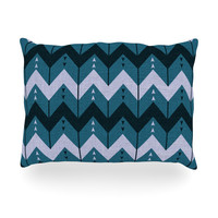 "Nick Atkinson ""Chevron Dance Blue"" Oblong Pillow"