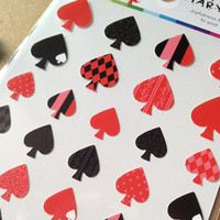 porker card symbols Diary seal sticker black spade red spade pattern mini icon dots stripes spots Diy special gift iphone case scrapbooking