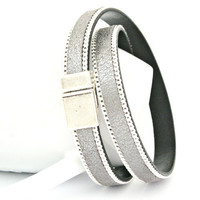 Sparkle silver leather bracelet with silver chain double wrapped with magnetic clasp