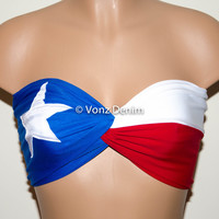PADDED Texas Flag Bandeau Top, Twisted Spandex Bandeau Bikini in Blue, White and Red