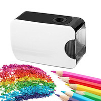 Electric Pencil Sharpener for Colored Pencils and Regular Pencils - Best for Students, Teachers, Writers, Architects, Engineers, Artists, Composers - Battery and USB Powered, Automatic, Kids Safe