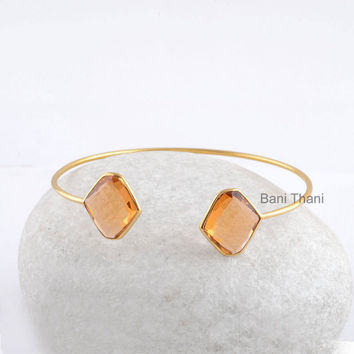 Champagne Quartz 12x14mm- Bracelets- Gold Bangle - Gemstone Bangle - Sterling Silver Bangle #7487