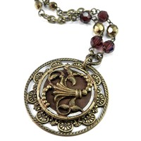 Antique Button Necklace - Ornate Burgundy Cut Steel Blossom