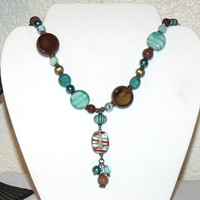 Turquoise and Brown Bead Necklace - Tassel Pendant glass ceramic stone