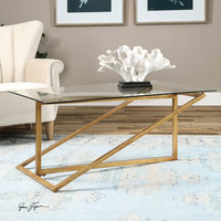 Zerrin Glass Coffee Table Gold