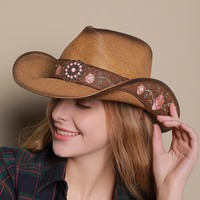 Women and men Western Cowboy Hats Vintage Embroidery Visor Straw Hat Travel Performance Punk Cowgirl Jazz Cap