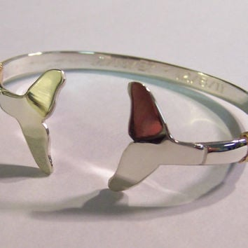 Nautical Whale Tail Bracelet Hand Crafted on Cape Cod out of Sterling Silver and 14k Gold