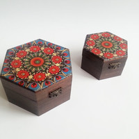 Set of two Trinket boxes decoupage folk polish art