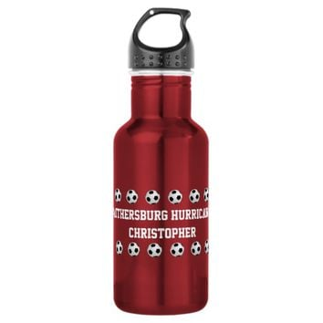 Water Bottle, Personalized, Soccer, Red Water Bottle