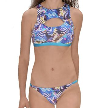 Summer New fashion colorful print vest two piece bikini swimsuit
