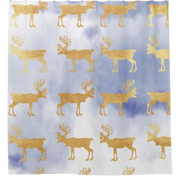 water color blue skies,gold,deers,pattern,trendy,w shower curtain