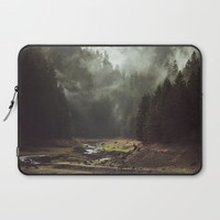 Foggy Forest Creek Laptop Sleeve by Kevin Russ