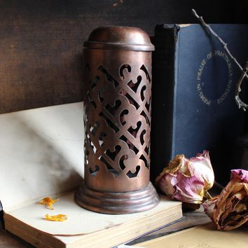 Tall Copper Tealight or Incense Holder