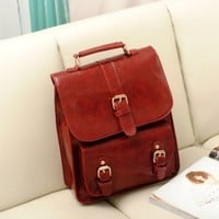 Retro PU Leather Backpack for School