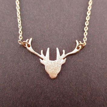 Stag Deer Doe Silhouette Shaped Pendant Necklace in Rose Gold | Animal Jewelry