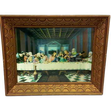 Last Supper Lentograph Framed 3D Print Vintage Religious Art Kitsch Wall Decor Holographic Victor Anderson Studio Lenticular Dimensional