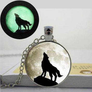 Glowing wolf Moon  glow in the dark necklace