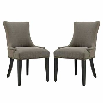 Marquis Set of 2 Fabric Dining Side Chair, Granite