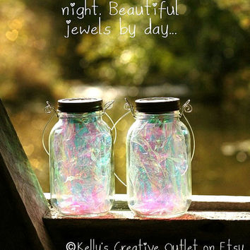 Mason Jar Solar Lights/Fairy Lanterns, fully assembled with fitted handles to hang them from.
